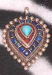 Bold Vintage Nepalese Pendant Lapis Coral Turquoise Sterling Silver