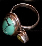 Turquoise And Amethist Sterling Silver Ring