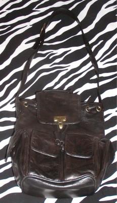 Vintage DKNY Black Leather Shoulder Bag Rucksack Purse