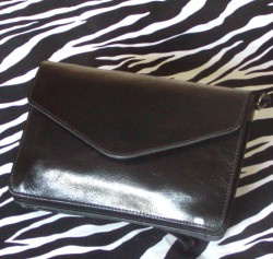 Vintage Black Leather Envelope Shoulder Bag