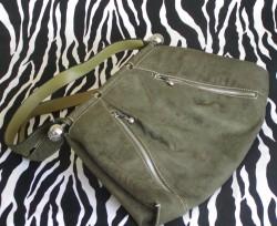 Vintage Military Green Suede Handbag