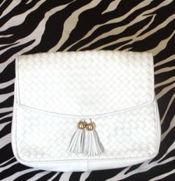 Vintage White Woven Leather Handbag