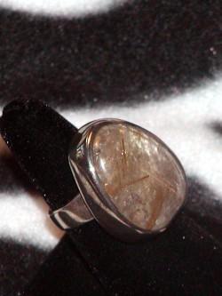 Vintage Natural Rutile Topaz Sterling Silver Ring