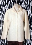 Vintage Off White Wool Cardigan Jacket Size M