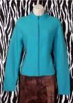 Vintage Merino Wool Designer Cardigan Jacket Blue Turquoise Size M