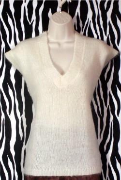 Vintage Off-White Mohair Vest Size M