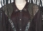 Blackish And Silver Vintage Silk Blouse