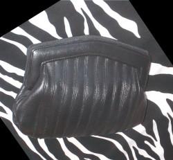 Vintage Black Leather Purse Clutch
