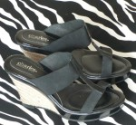 Black Charles David Wedge Sandals Espadrilles