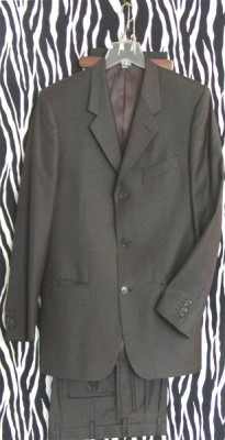 Vintage Gianni Uomo Classic Brown Striped Suit Made in Italy