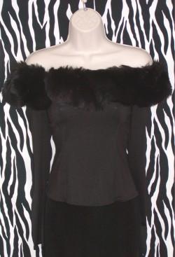 Vintage Bisou Bisou Black Off-The-Shoulder Top