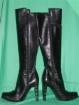 Vintage Black Leather Knee High Boots Made In Italy